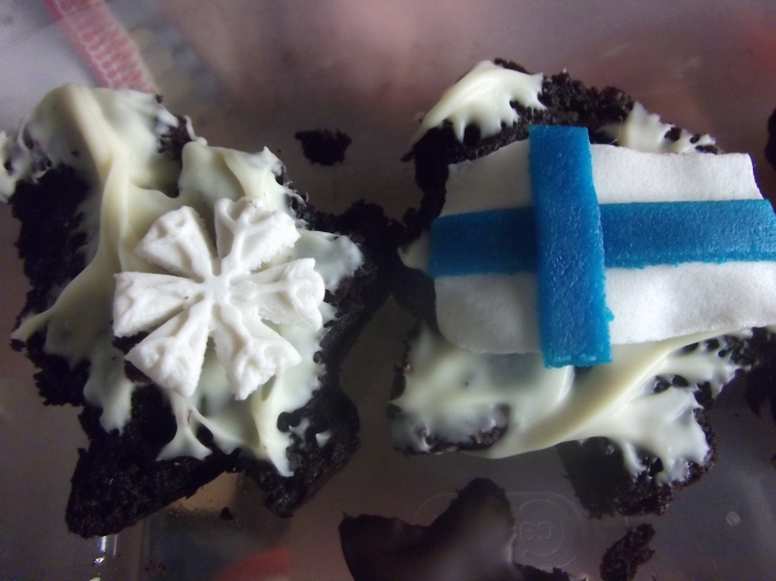 My national day decorations on sweet potato and dark chocolate muffins